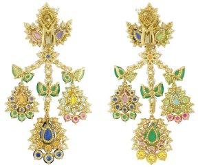 jewelry,dior,paris,couture, flowers, gems diamonds,christian dior, gift ideas, cher dior, miss dior, yellow, blue, purple, earrings,sapphires, rubies, garnets, handbags